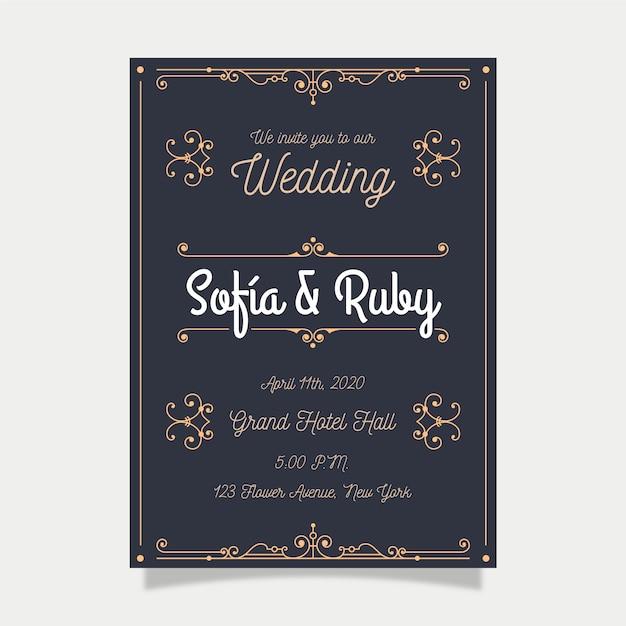 Retro sjabloon bruiloft uitnodiging Gratis Vector