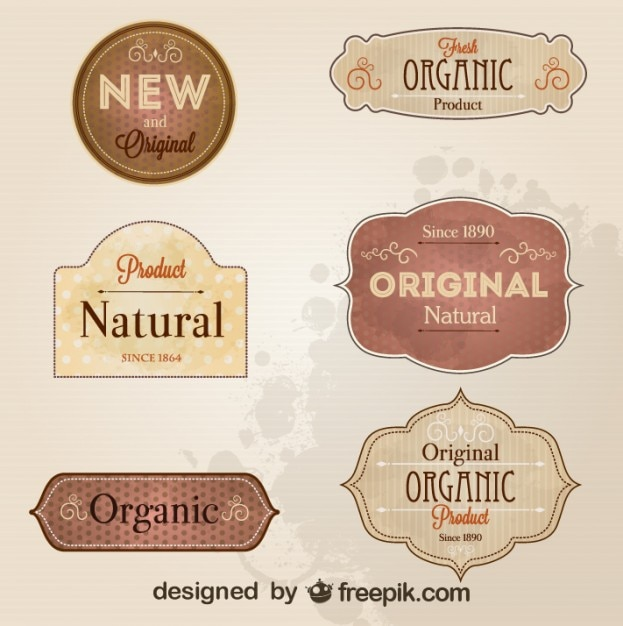 Retro-stijl badges en labels Gratis Vector