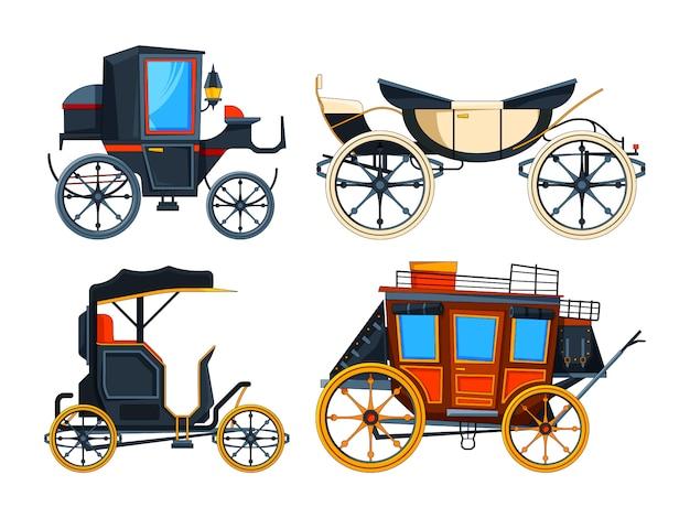 Retro transportwagen. foto's van rijtuigen Premium Vector