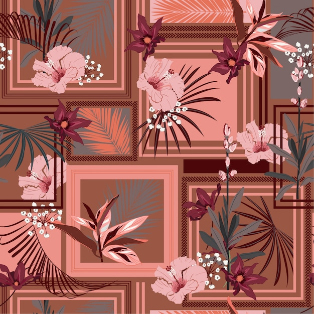Retro tropische naadloze sjaal van de patroonzijde met modern kader exotisch bos. Premium Vector