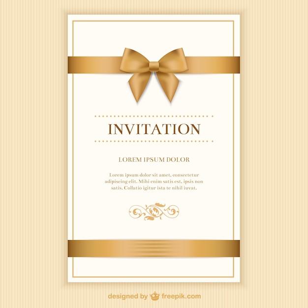Retro uitnodigingskaart met een lint Gratis Vector