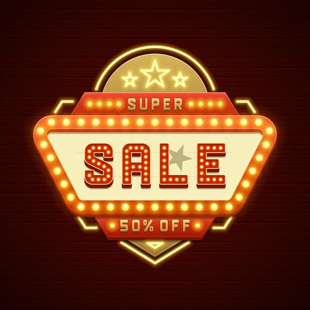 Retro van de de verkoopbioskoop van het showuurteken frame van de gloeilampen en neonlampen Premium Vector