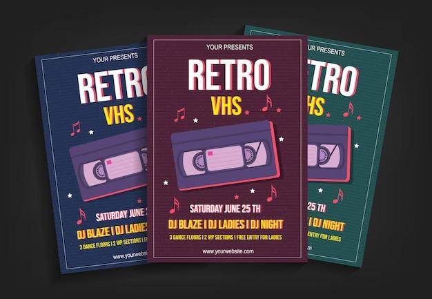 Retro vhs partij flyer sjabloon Premium Vector
