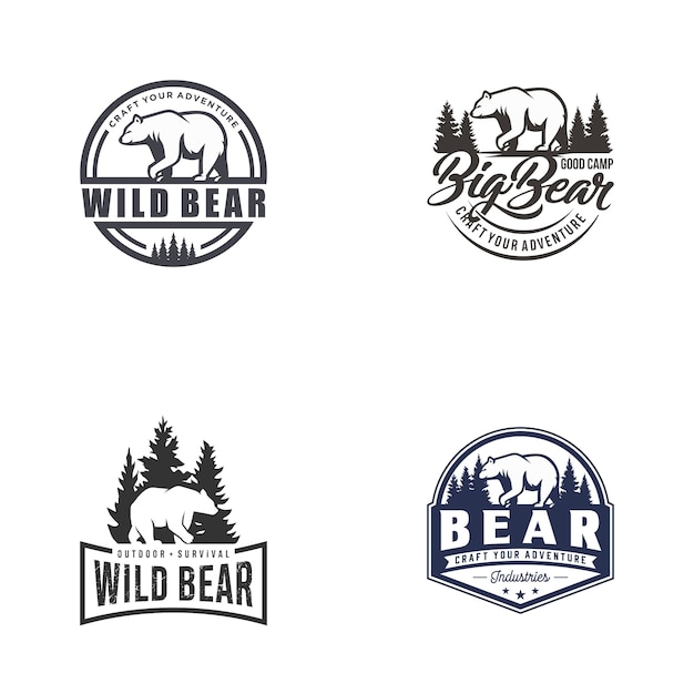 Retro vintage bear logo vector template set Premium Vector