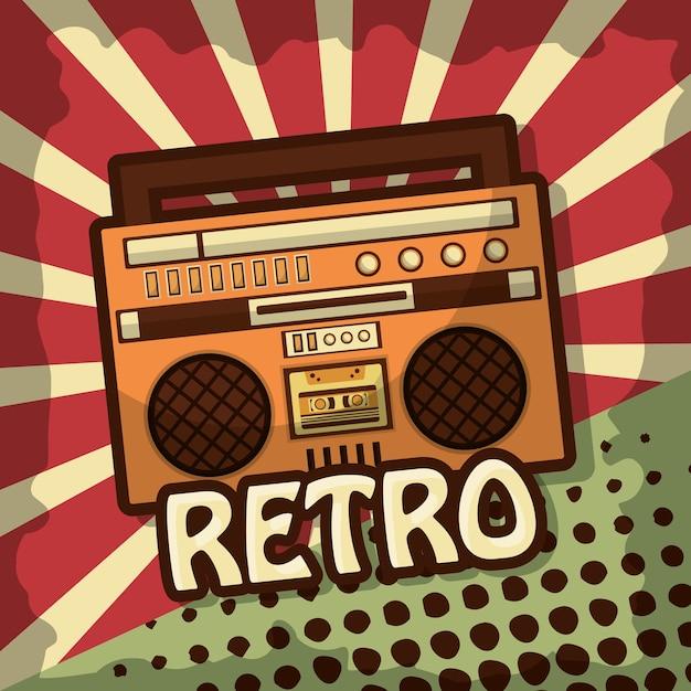 Retro vintage boombox radio stereo cassette Premium Vector