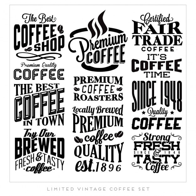 Retro vintage coffee labels Gratis Vector