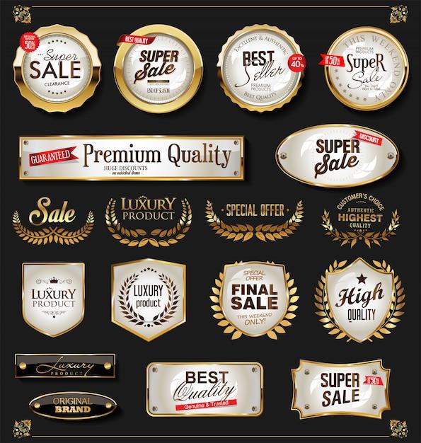 Retro vintage glanzende gouden labels-collectie Premium Vector