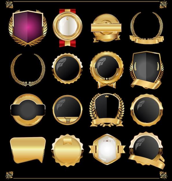 Retro vintage gouden labels en banners collectie vector Premium Vector