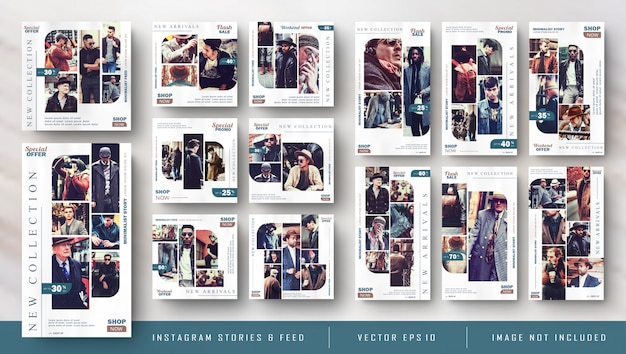 Retro vintage instagram-verhalen en feedpostbundelkitbanner Premium Vector