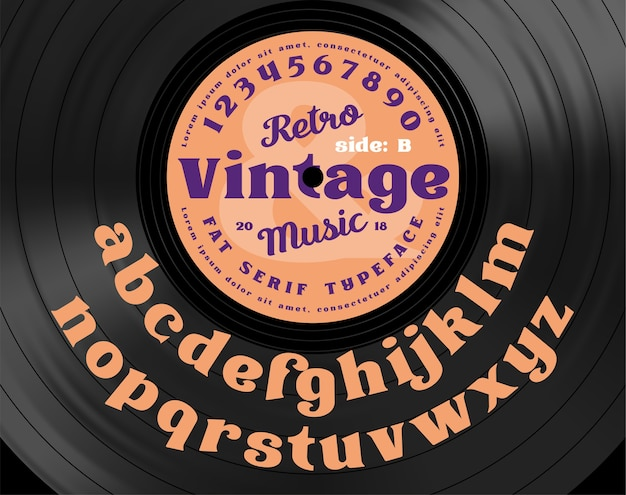 Retro vintage serif vet lettertype. alfabetletters op de achtergrond van vinyl record. Premium Vector
