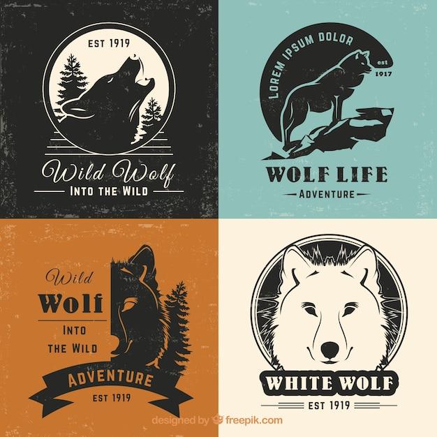 Retro vintage wolf logo collectie Gratis Vector