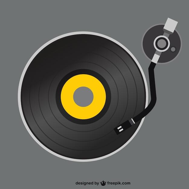 Retro vinyl platenspeler vector Gratis Vector
