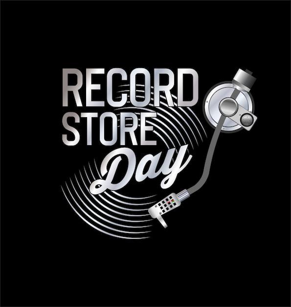 Retro vinyl record store dag achtergrond collectie Premium Vector