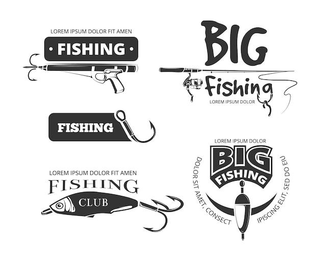 Retro visserijclub vectorkentekens Premium Vector