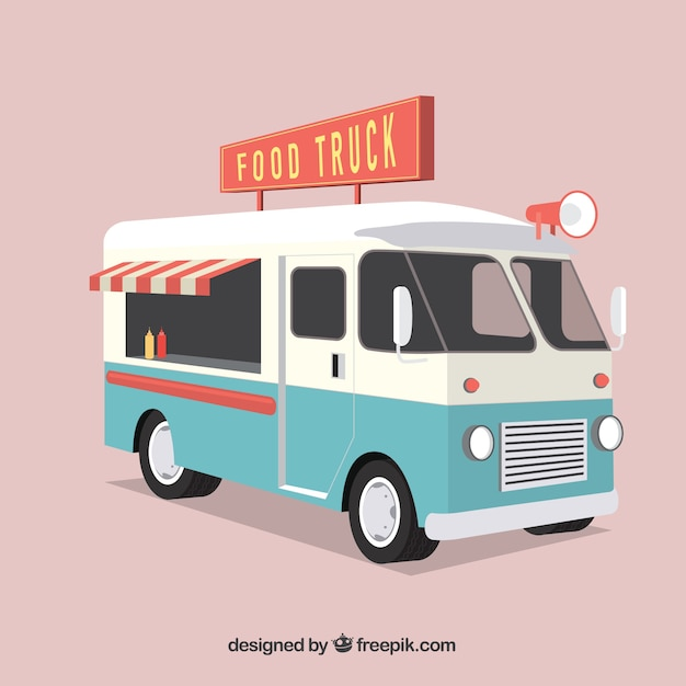 Retro voedsel vrachtwagen Gratis Vector
