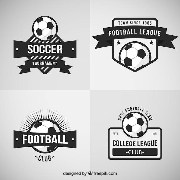Retro voetbal badges Premium Vector