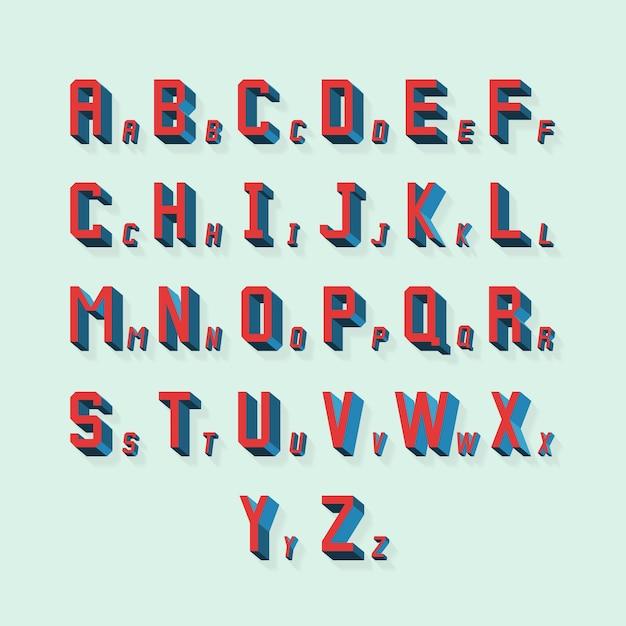 Retro volumetrisch 3d-alfabet Gratis Vector