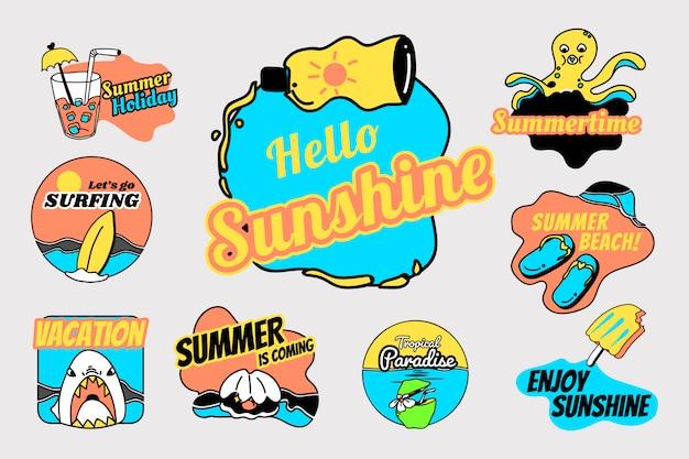 Retro zomer badge set Gratis Vector