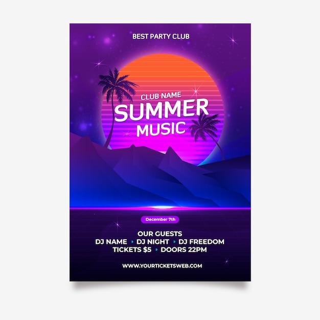 Retro zomer muziek poster sjabloon Gratis Vector