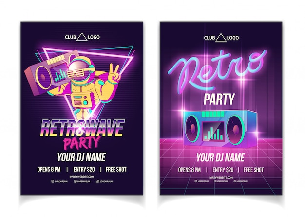 Retrowave muziekfeest in nachtclub cartoon advertentie poster, flyer of poster sjabloon in neon kleuren Gratis Vector