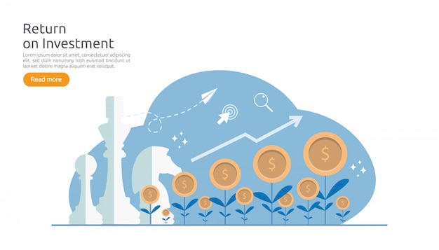 Return investment roi of growth business finance-concept Premium Vector