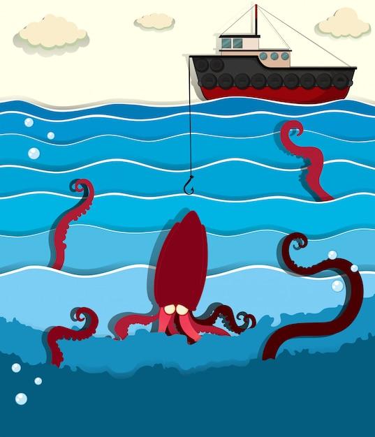Reuze octopus en vissersboot Gratis Vector
