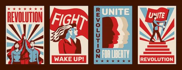 Revolutie 4 die constructivistische posters promoot die worden geplaatst met oproepen tot staking vechten eenheid vrijheid vintage geïsoleerd Gratis Vector