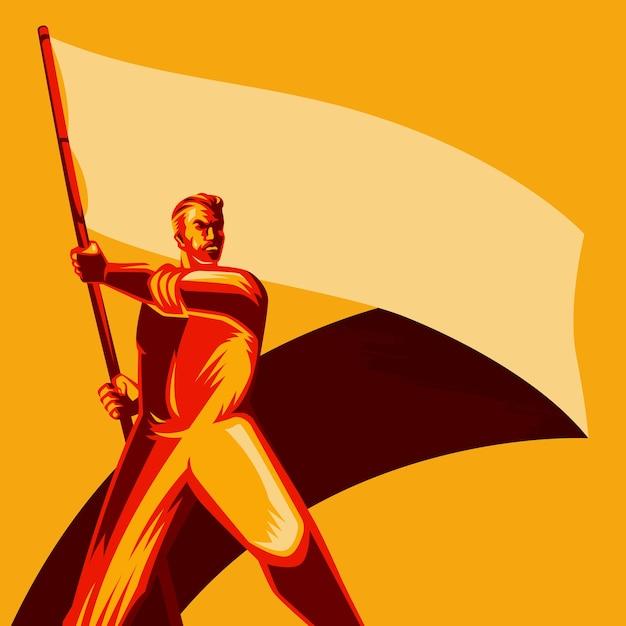 Revolutie man met lege vlag vector illustratie Premium Vector