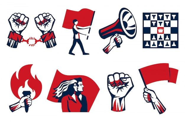 Revolutie propageren roept op tot strijd vrijheid eenheid symbolen 2 horizontale vintage constructivistische pictogrammen sets geïsoleerd Gratis Vector