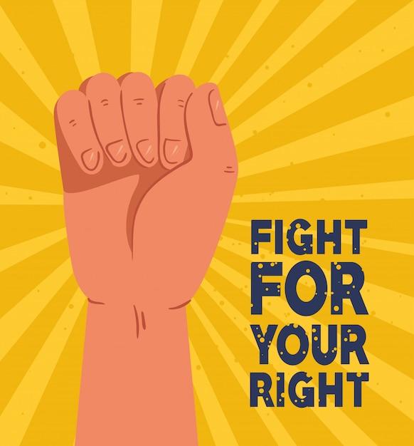 Revolutie, protest met opgeheven armvuist om te vechten voor uw recht Premium Vector