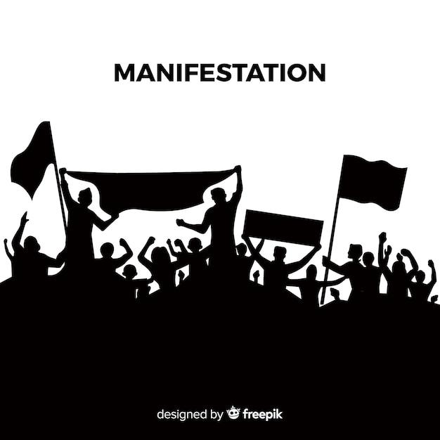 Revolutiesamenstelling met silhouet van mensen die protesteren Gratis Vector