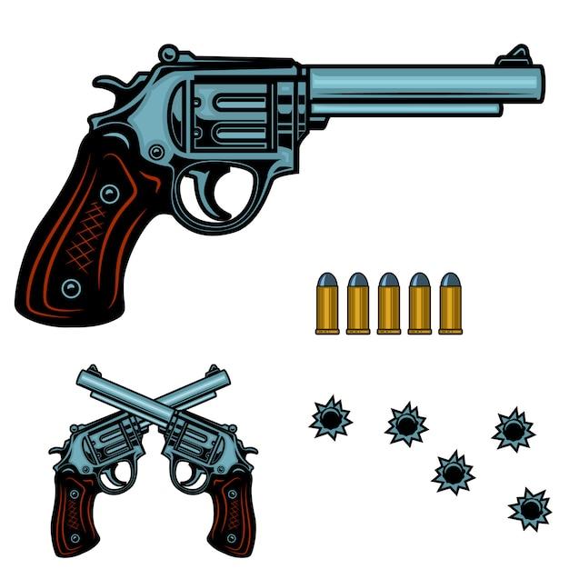 Revolver kleurrijke illustratie. geweerkogels en gaten. element voor poster, embleem, teken, banner. beeld Premium Vector