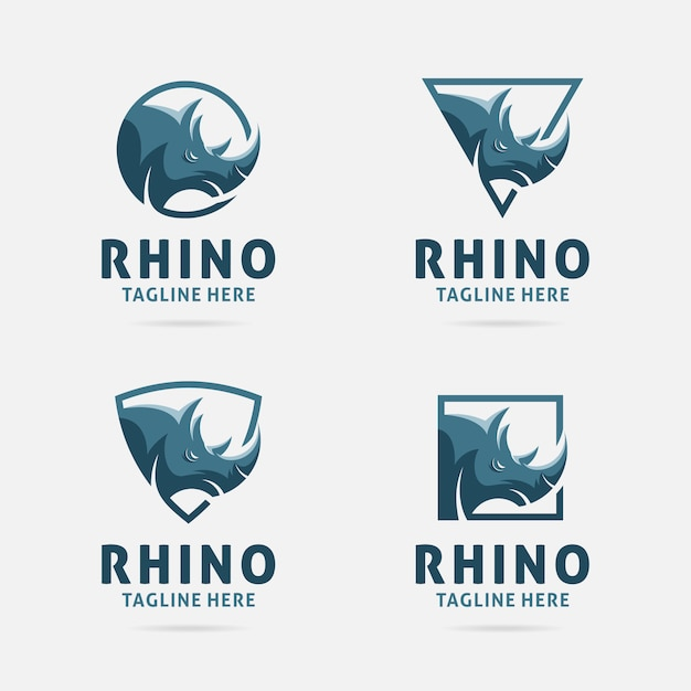 Rhino-embleemontwerp met frames Premium Vector