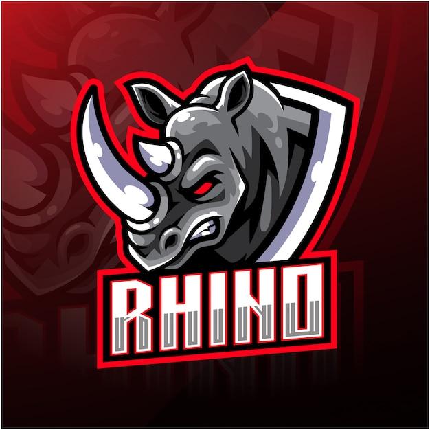 Rhino hoofd mascotte logo Premium Vector