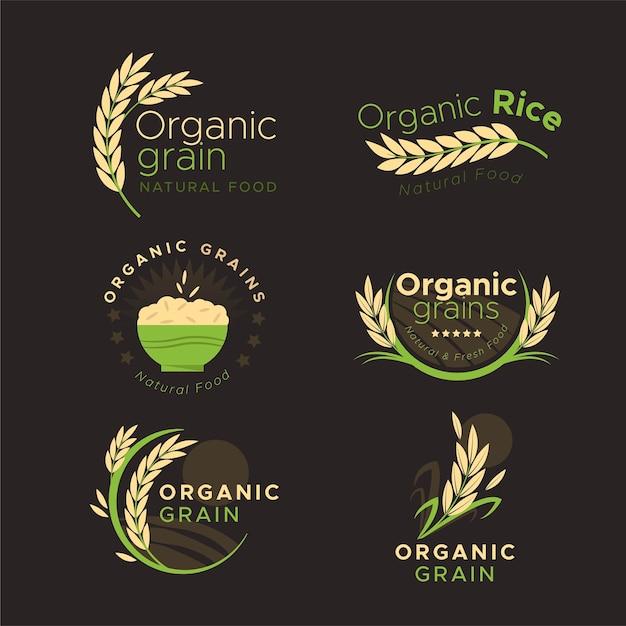 Rice logo collectie Gratis Vector