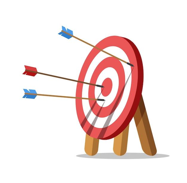Richt met een pijlen. een pijl raakte het midden van het doel. zakelijke uitdaging en doelverwezenlijking. Premium Vector