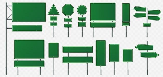 Richting bord, weg bestemming borden, straat bewegwijzering borden en groene regisserende uithangbord aanwijzer geïsoleerd Premium Vector