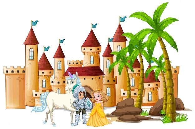 Ridder en prinses in het kasteel Gratis Vector