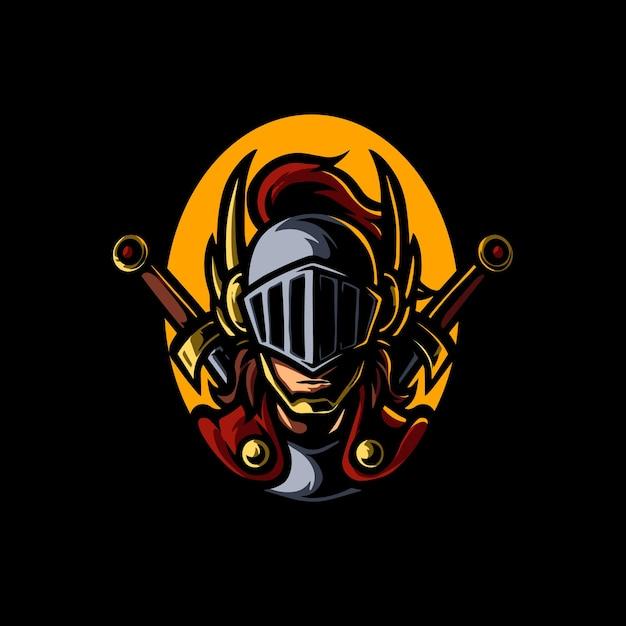 Ridder hoofd e sport mascotte logo Premium Vector