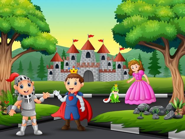 Ridder met prinses en prins op weg naar het kasteel Premium Vector