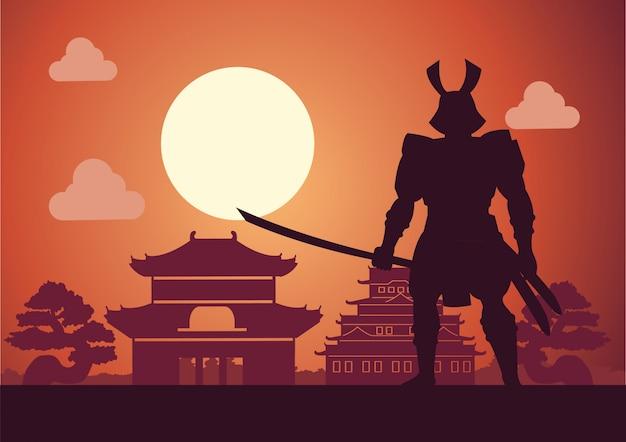 Ridder van japan genaamd samurai poseren voor kasteel Premium Vector
