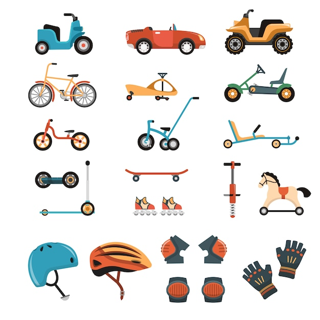 Ride-on toys elements-collectie Gratis Vector
