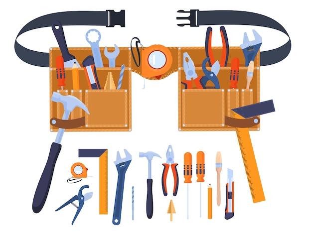 Riem voor gereedschap. gereedschap bij de hand. handgereedschap, sleutels, schroevendraaiers, borstels, hamers, meetlint, liniaal, tang. home renovatie Premium Vector