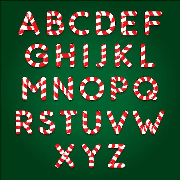 Riet van het suikergoed kerstmis alfabetpakket Gratis Vector