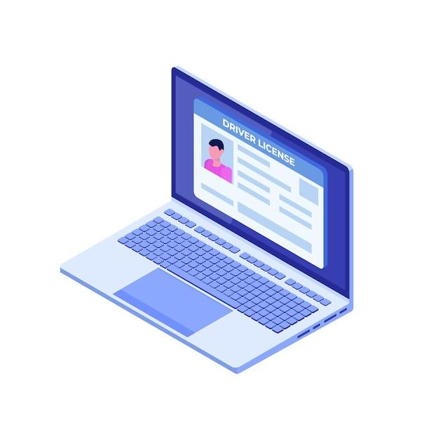 Rijbewijs voor auto; identiteitskaart in laptop. Premium Vector