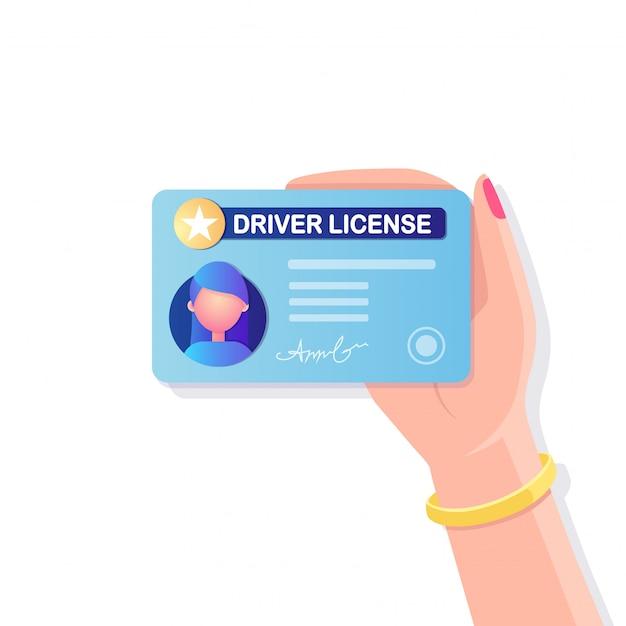 Rijbewijskaart met foto op witte achtergrond. identiteitsbewijs voor autorijden. Premium Vector