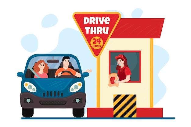 Rijd door raam illustratie met auto Gratis Vector