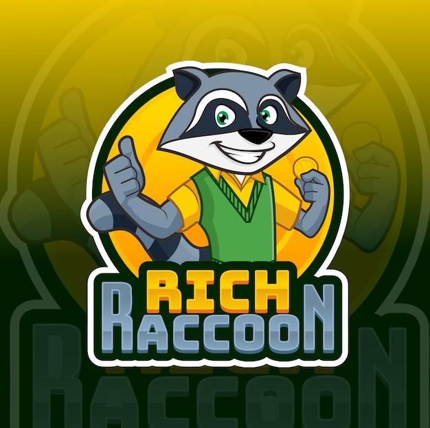 Rijk raccon mascotte logo Premium Vector