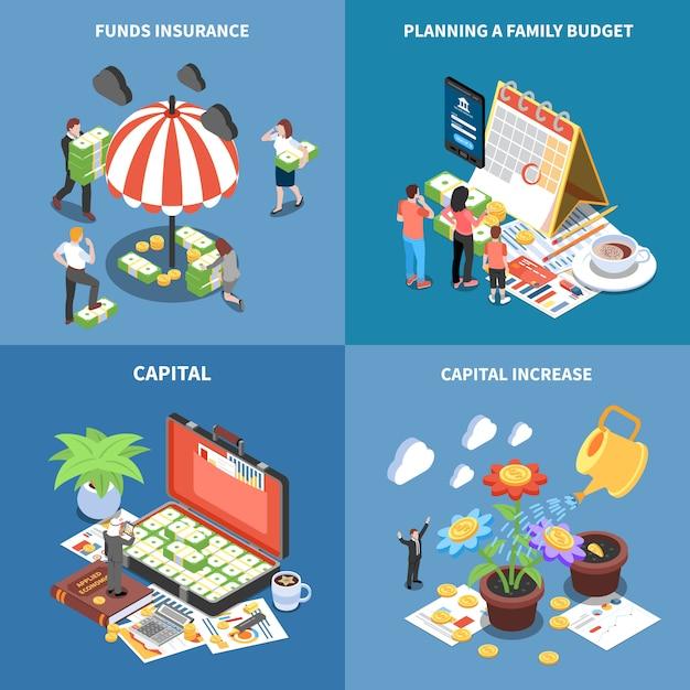 Rijkdom management isometrische concept met geld middelen fondsen verzekering planning budget kapitaalverhoging geïsoleerd Gratis Vector