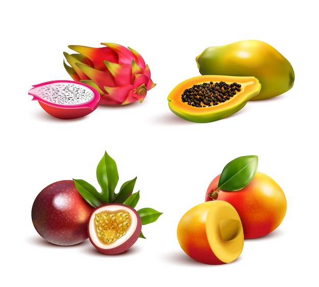 Rijpe tropische vruchten set Gratis Vector